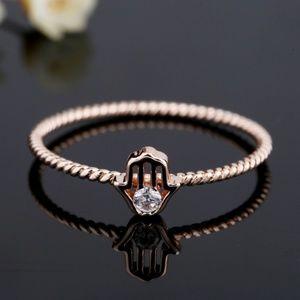 NEW Rose Gold Beaded Hamsa Cubic Zirconia Ring